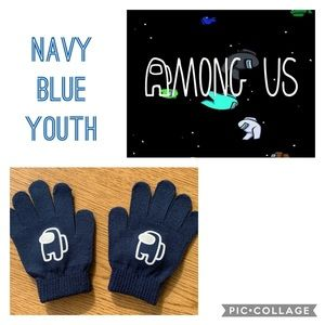 Youth Among Us decal gloves navy color